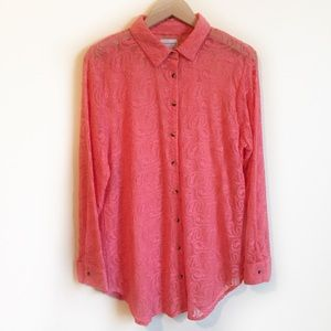 Soft Surroundings Top Embroidered Lace Pink M
